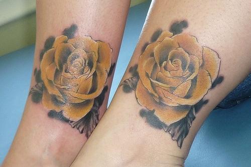 couple Yellow Rose Tattoo on hand