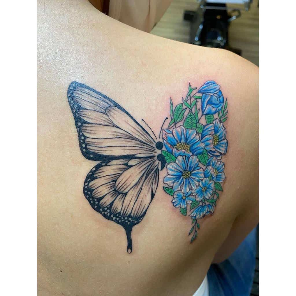 Amazing Semicolon Butterfly Tattoo at back for women
