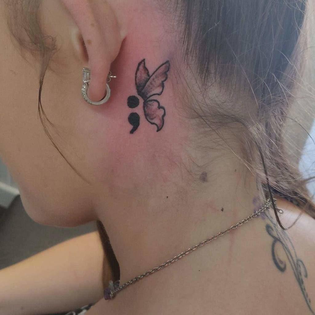 Semicolon Butterfly Tattoo near ears for women