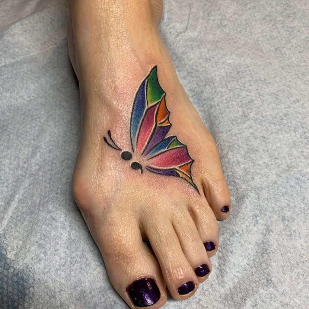 Semicolon Butterfly Tattoo on leg for women