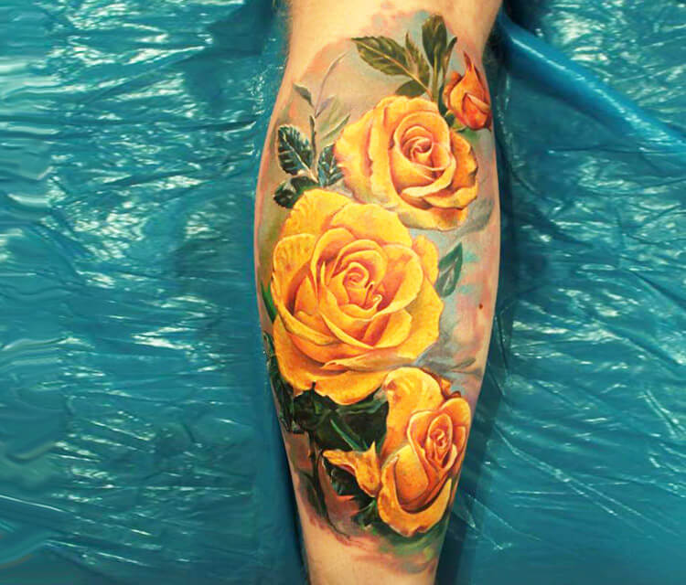 Realistic Yellow Rose Tattoo for men