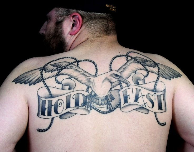 Hold fast tattoo for men at back