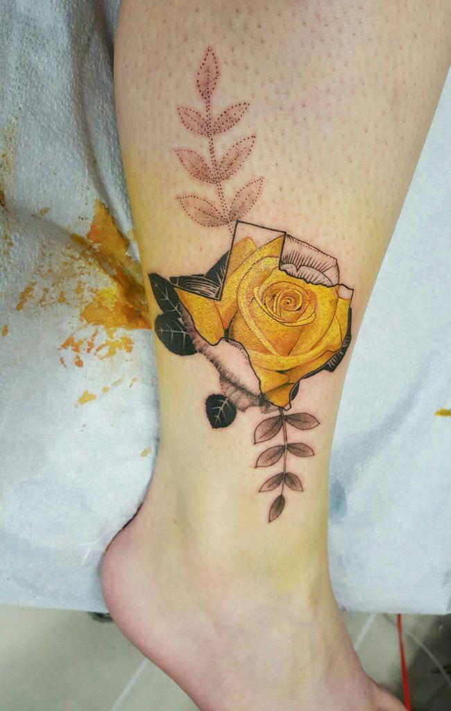 Beautiful Yellow Rose Tattoo on leg