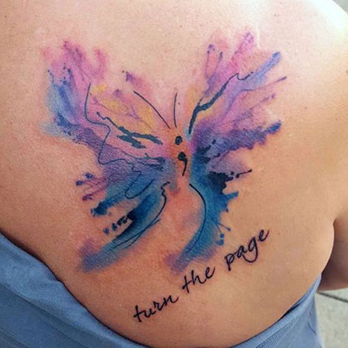 Colorful Semicolon Butterfly Tattoo at back for women