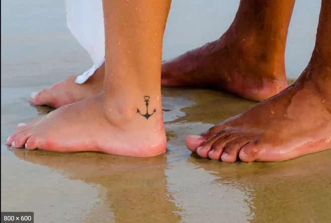 Beautiful Anchor Tattoo on leg for women