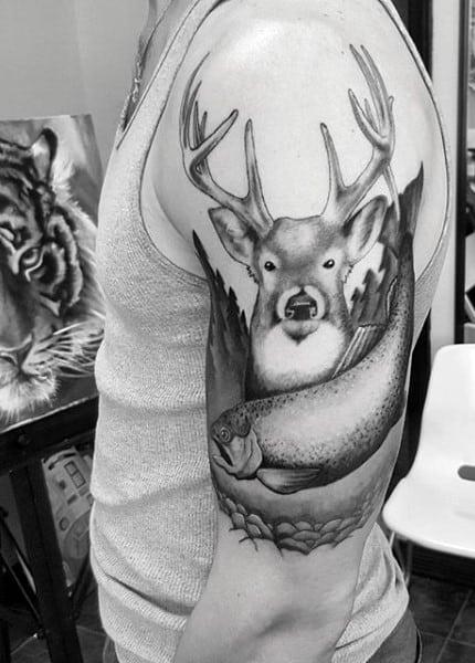 Deer horns Tattoo for men