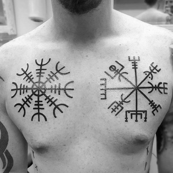 Bold helm of awe tattoo on chest for men