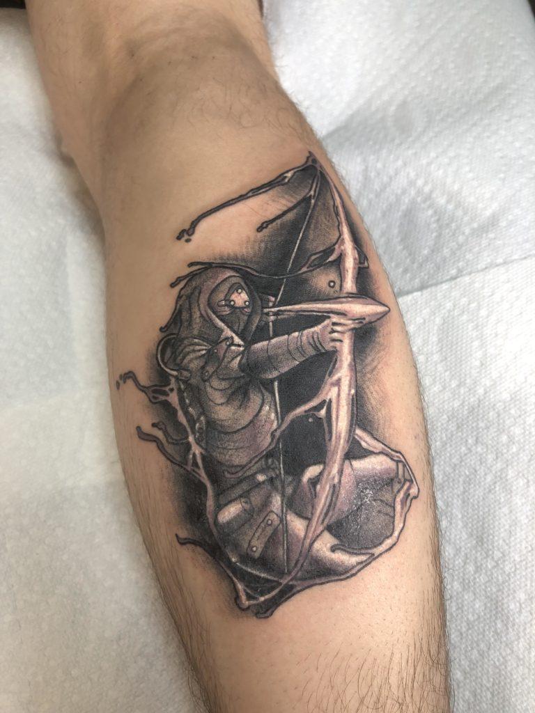 Man Hunting Tattoo on leg for men