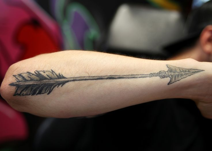Arrow hunting tattoo for men on hand