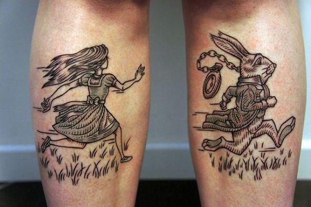 Black and white tattoo for men
