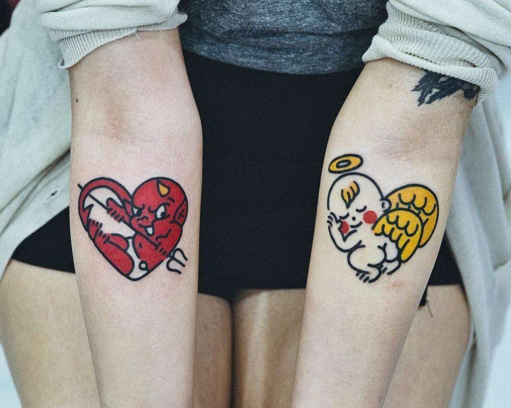 Cute Couple Tattoo on hand