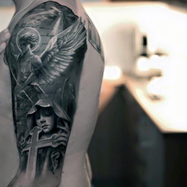Guardian Angel Tattoo on shoulder for men