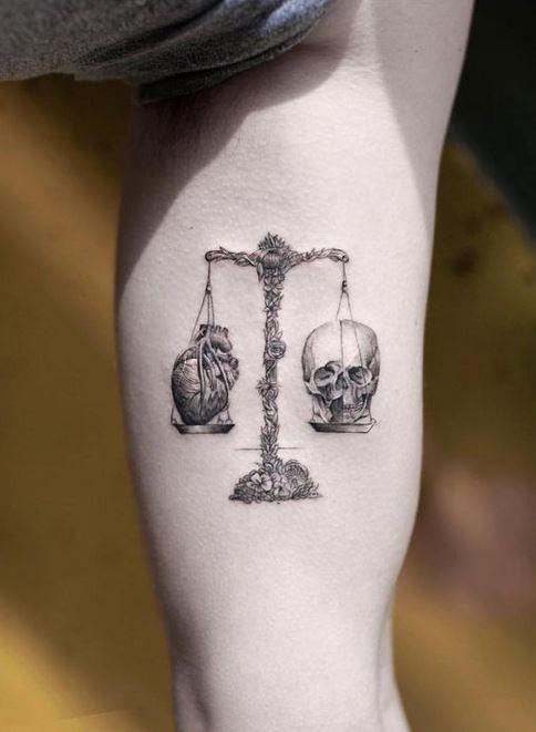 Black and White Libra Tattoo