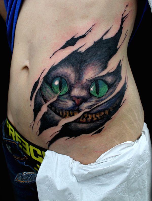 Cheshire Cat Tattoo on body for women