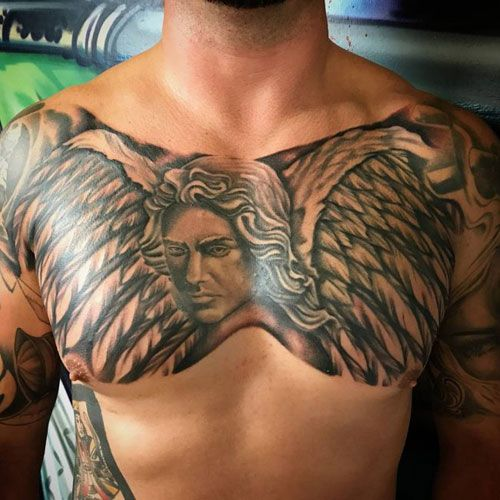 Classy Wings Tattoo on chest for men