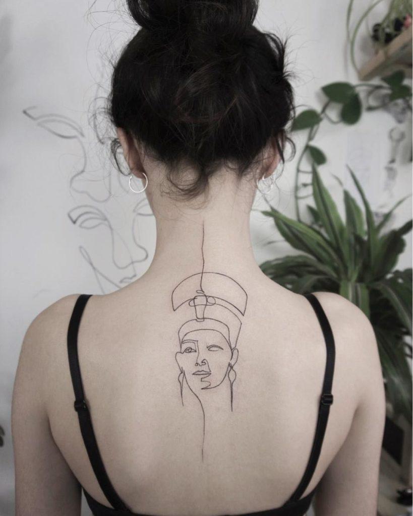 Geometric Nefertiti Tattoo
