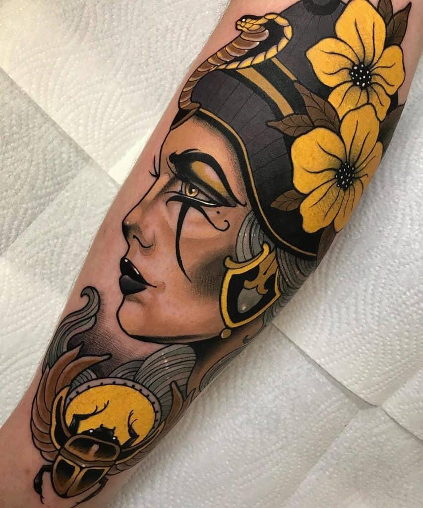 Floral NefertitiTattoo
