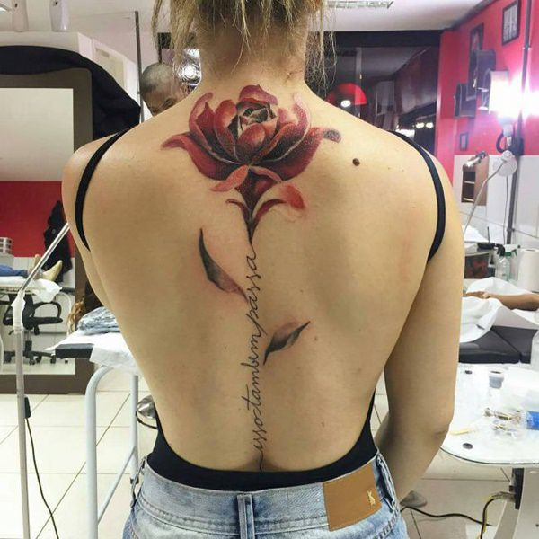 Watercolor Tattoo at back for women
