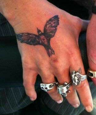 Crow Tattoo on right hand