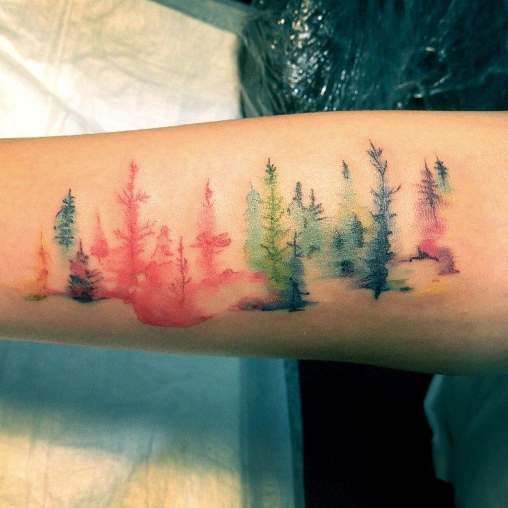 Natural Scene Watercolor Tattoo