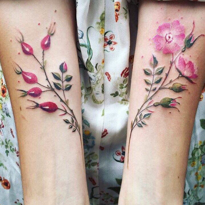 Pink  Flower Tattoo on hand for women