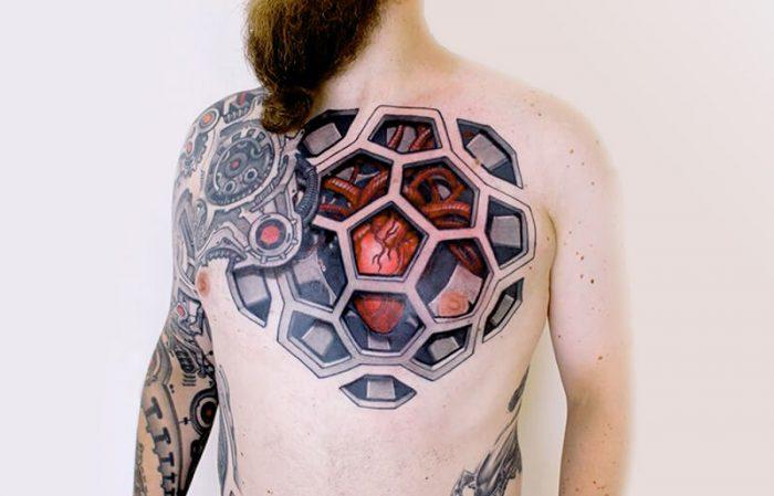 Bio mechanical Chest Tattoo for man