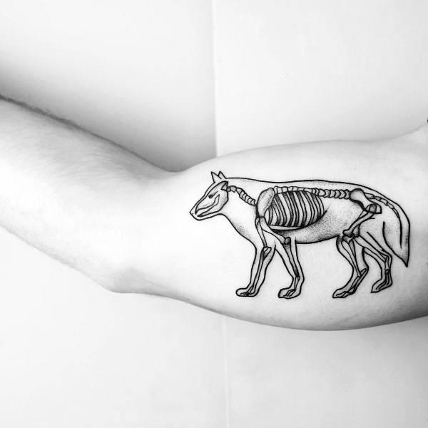 Human and animal anatomy tattoo on hand