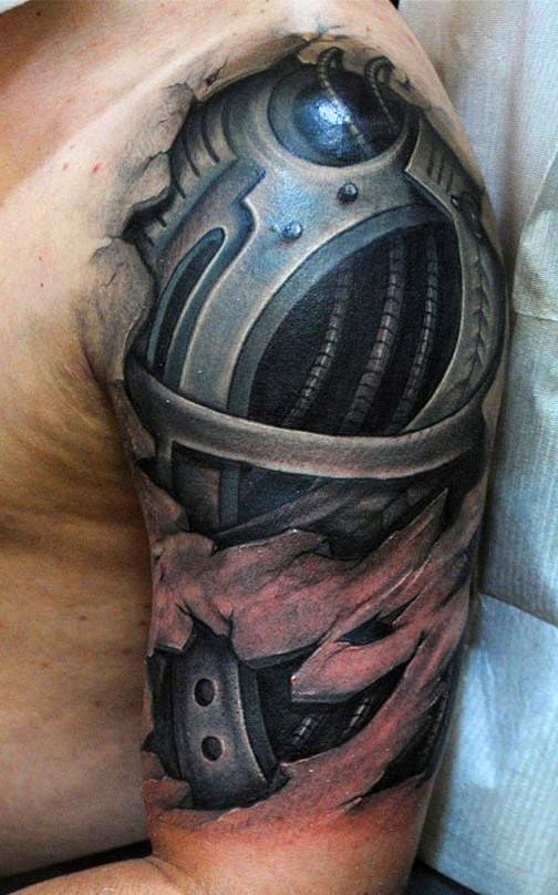 Bio mechanical tattoo on shoulder for men