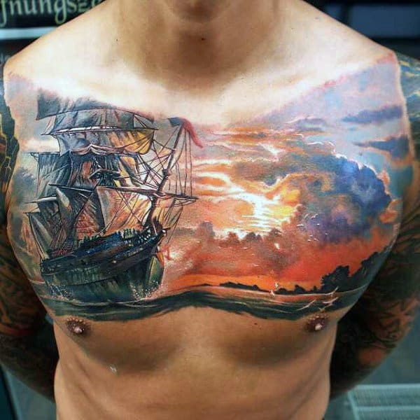 Sea & ship tattoo on chest for men