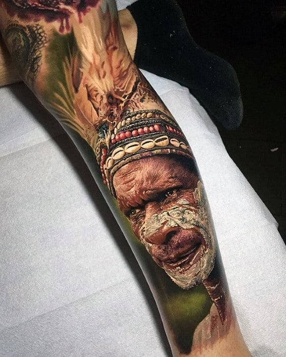 Realism tattoo on leg for a guy