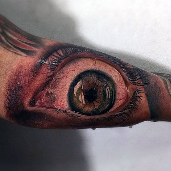 Realism Tattoo of eye on hand for men