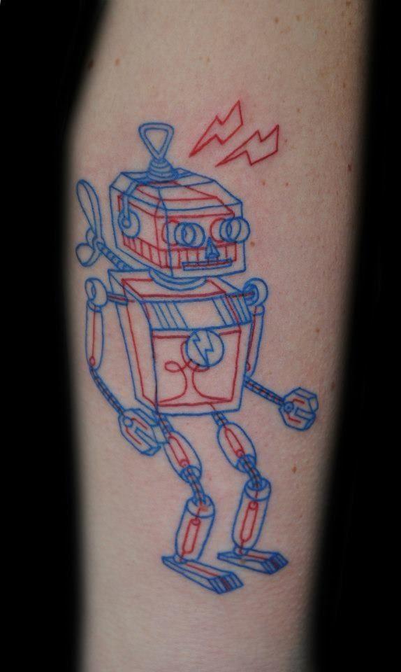 Robot 3D Red & Blue line tattoo