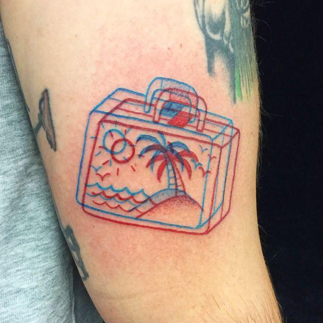 Palm Tree 3D Red & Blue line tattoo