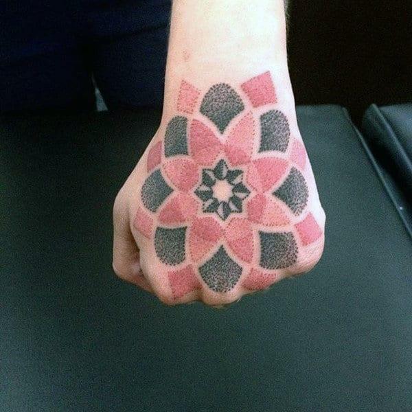 Mandala Dotwork tattoo on hand for women